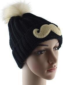 Black Twisted Ball Moustache Knit Hat