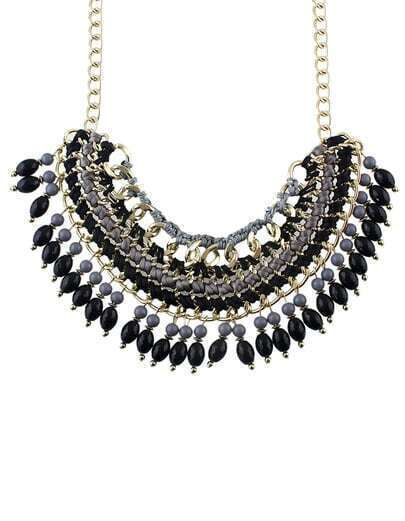 Black Bead Tassel Necklace pictures