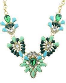 Green Gemstone Chain Necklace