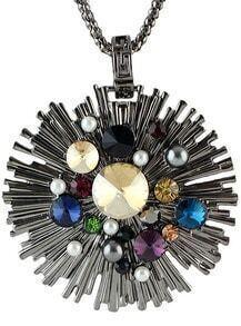Silver Gemstone Round Necklace
