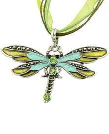 Green Diamond Dragonfly Necklace