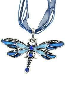 Blue Diamond Dragonfly Necklace