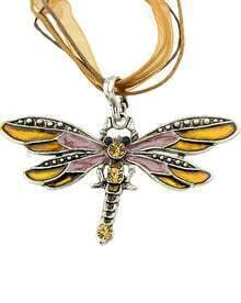 Yellow Diamond Dragonfly Necklace