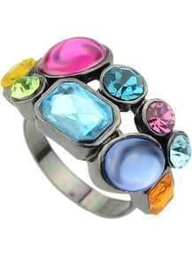 Multicolor Gemstone Silver Ring