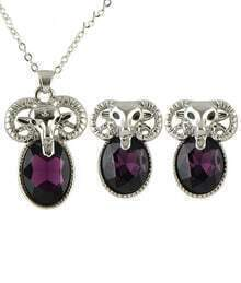 Black Gemstone Sheep Necklace With Earrings
