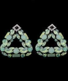 Pale Green Triangle Diamond Earrings