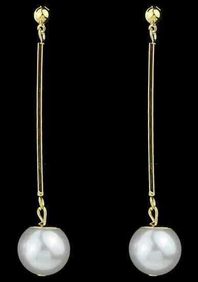 White Pearl Gold Dangle Earrings