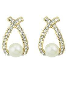 White Pearl Diamond Earrings