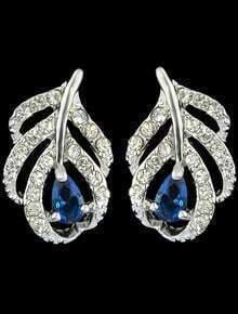 Blue Gemstone Silver Stud Earrings