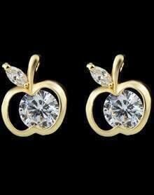 Gold Apple Diamond Stud Earrings