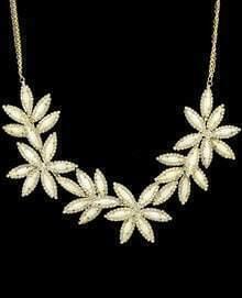 White Gemstone Gold Necklace