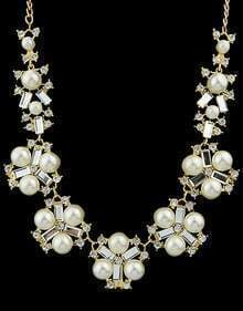 White Pearl Gold Necklace
