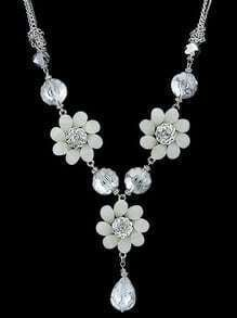 White Flower Gemstone Silver Necklace