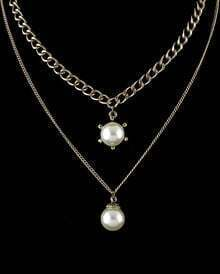 Gold Pearl Double Chain Necklace