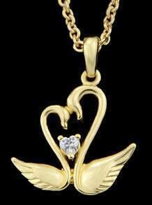 Gold Swan Pendant Necklace