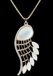 White Wing Gemstone Gold Necklace