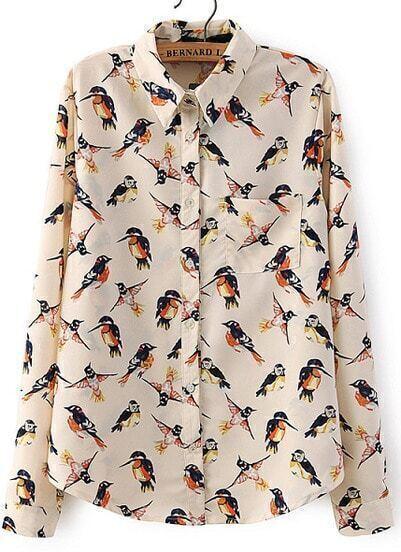Apricot Long Sleeve Birds Print Pocket Blouse