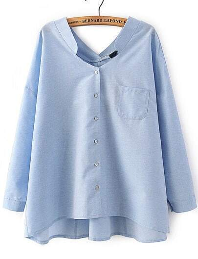 Blue V Neck Dipped Hem Loose Blouse
