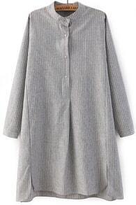 Grey Long Sleeve Vertical Stripe Split Blouse