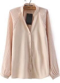 Apricot Stand Collar Pleated Loose Blouse