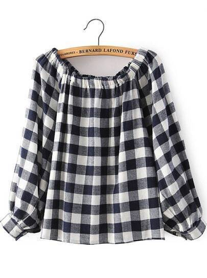 White Off the Shoulder Plaid Loose Blouse