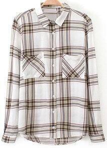 Multicolor Checkerboard Long Sleeve Check Print Blouse