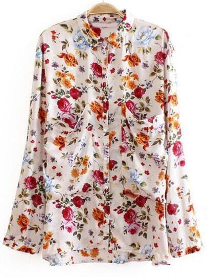 White Long Sleeve Floral Pockets Blouse