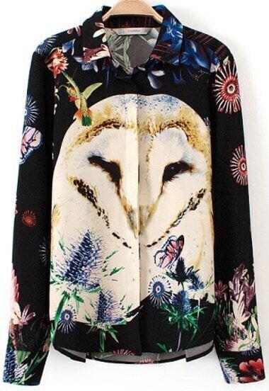 Black Long Sleeve Owl Print Blouse