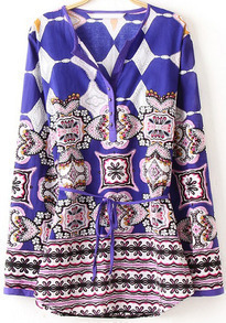 Purple V Neck Long Sleeve Floral Blouse
