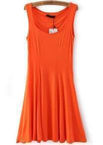 Orange Strap Slim Pleated Dress