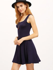 Navy Strap Slim Pleated Dress
