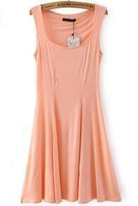 Pink Strap Slim Pleated Dress