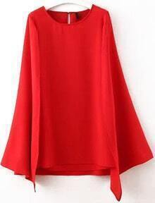 Red Split Sleeve Cape Dress