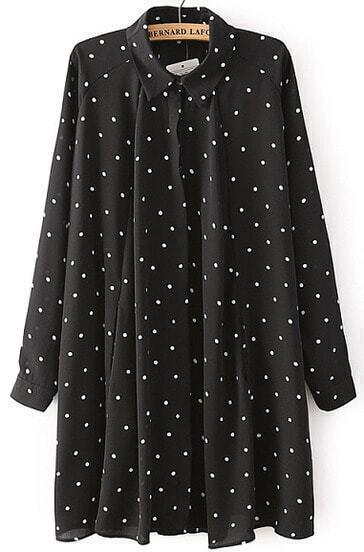 Black Lapel Long Sleeve Polka Dot Shirt Dress