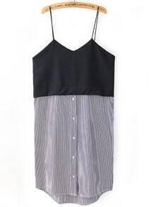 Black Spaghetti Strap Vertical Stripe Dress