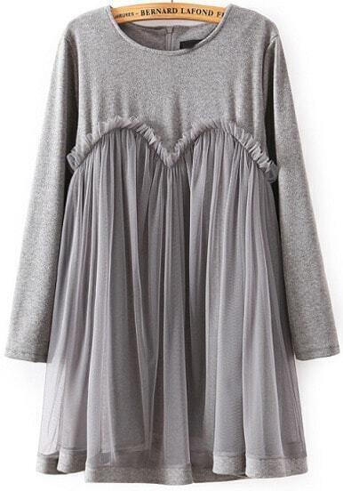 Grey Long Sleeve Contrast Mesh Dress