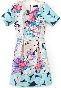 Blue Short Sleeve Floral Slim Dress