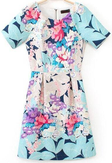 Blue Short Sleeve Floral Slim Dress