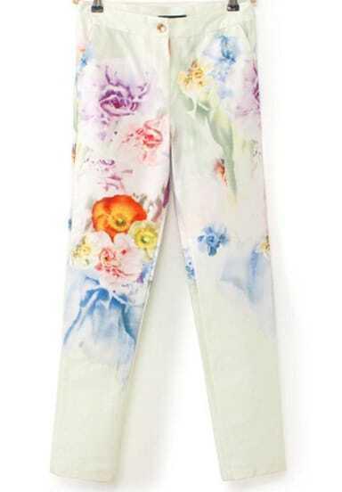 Light Green Floral Pocket Slim Pant