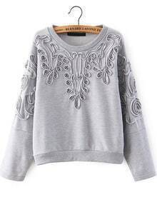 Grey Long Sleeve Disk Flowers Sweatshirt