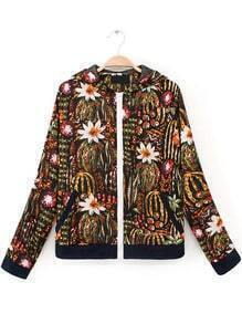 Black Long Sleeve Pockets Floral Jacket