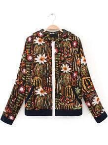 Black Long Sleeve Pockets Floral Jacket