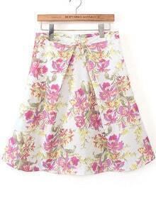 Red High Waist Floral Skirt