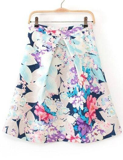 Blue High Waist Leaves Print Skirt