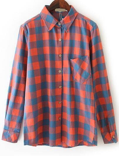 Orange Blue Long Sleeve Plaid Pocket Blouse
