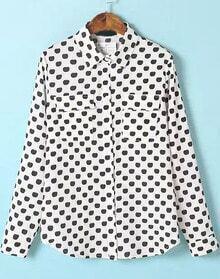 White Long Sleeve Polka Dot Pockets Blouse