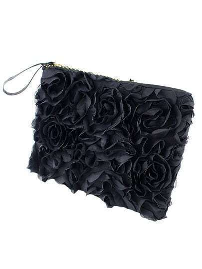 Black Zipper Rose Clutches Bag