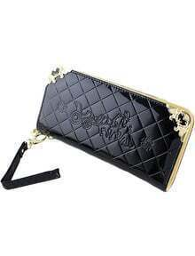 Black Diamond Pattern Metal Embellished Clutches Bag
