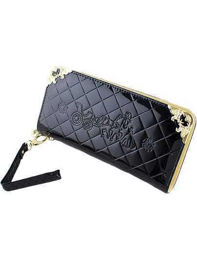 Black Diamond Pattern Metal Embellished Clutches Bag