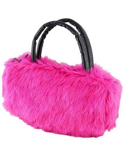 Rose Red Faux Fur Shoulder Bag